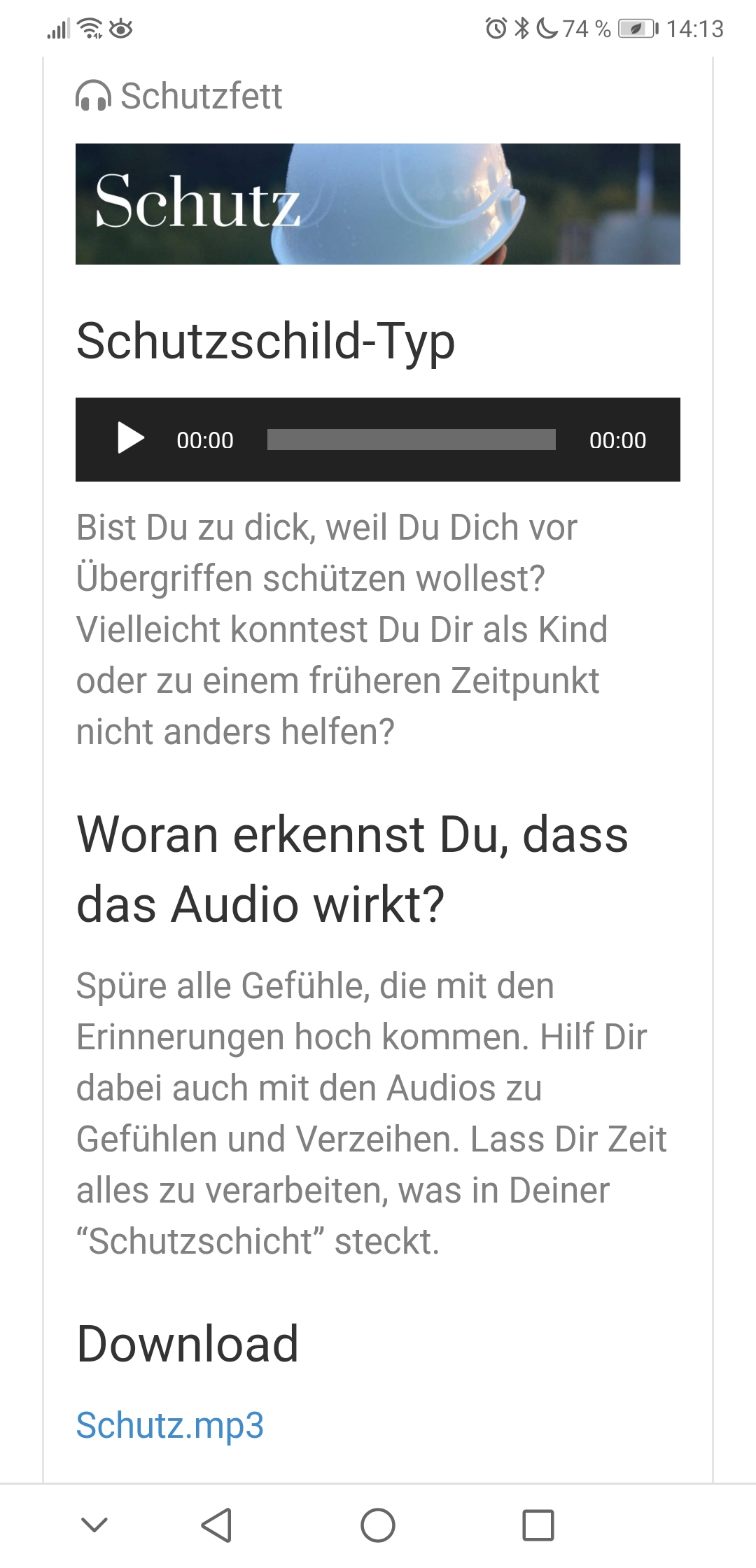 Screenshot-Schutzfett Audio mit Download-Link